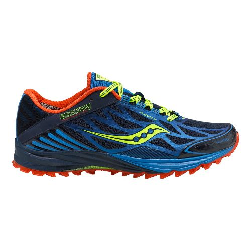 Mens Saucony Peregrine 4 Trail Running Shoe - Blue/Citron 10.5