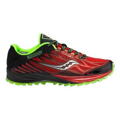 Mens Saucony Peregrine 4 Trail Running Shoe - Red/Black 11