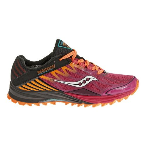 Womens Saucony Peregrine 4 Trail Running Shoe - Black/Berry 9.5