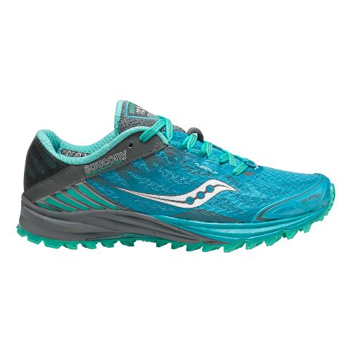 Womens Saucony Peregrine 4 Trail Running Shoe - Blue/Teal 5.5