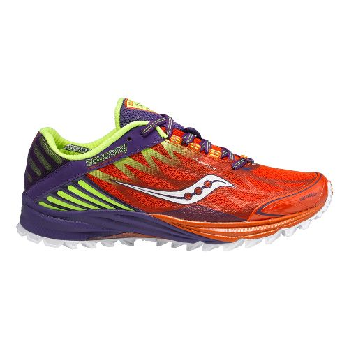 Womens Saucony Peregrine 4 Trail Running Shoe - Orange/Purple 8.5