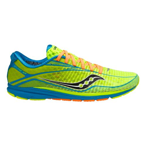 Mens Saucony Type A6 Racing Shoe - Citron/Blue 11.5