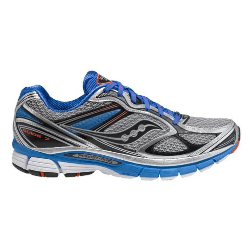 Mens Saucony Guide 7 Running Shoe - Silver/Blue 12.5