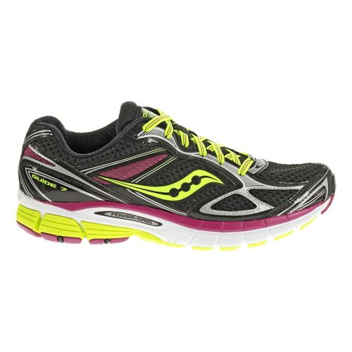 Womens Saucony Guide 7 Running Shoe - Black/Citron 9.5