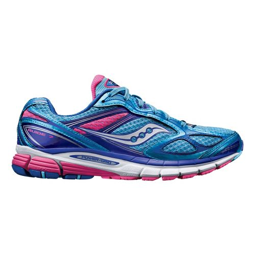 Womens Saucony Guide 7 Running Shoe - Blue/Pink 7.5