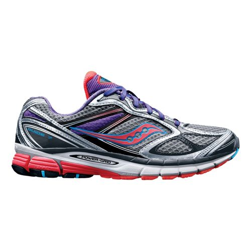 Womens Saucony Guide 7 Running Shoe - Silver/Coral 7