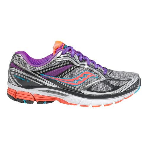 Womens Saucony Guide 7 Running Shoe - Silver/Vizicoral 8.5