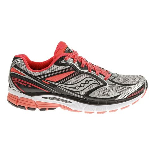 Womens Saucony Guide 7 Running Shoe - White/Vizicoral 10.5