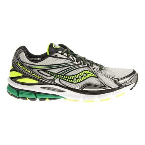 Mens Saucony Hurricane 16 Running Shoe - White/Green 11.5