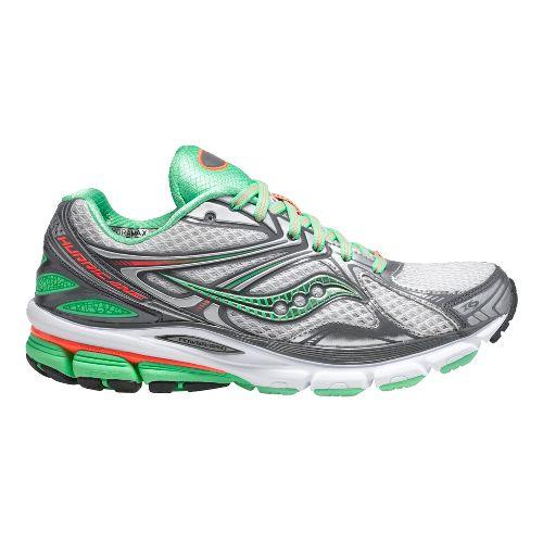 Womens Saucony Hurricane 16 Running Shoe - White/Green 5