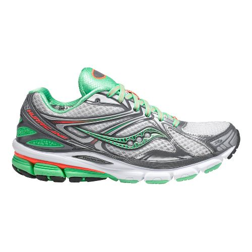 Womens Saucony Hurricane 16 Running Shoe - White/Green 7.5