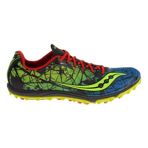 Mens Saucony Shay XC4 Flat Cross Country Shoe - Blue/Citron 10.5
