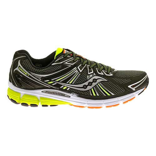 Mens Saucony Omni 13 Running Shoe - Black/Citron 14