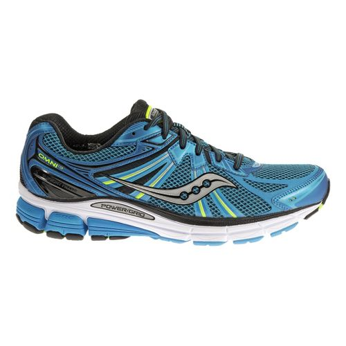 Mens Saucony Omni 13 Running Shoe - Blue/Citron 8.5