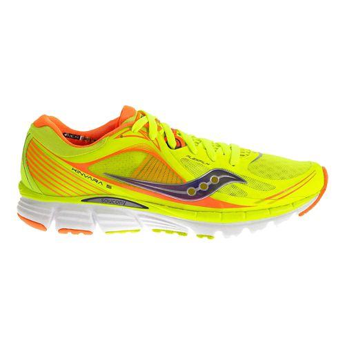 Womens Saucony Kinvara 5 Running Shoe - Citron/Viziorange 7.5