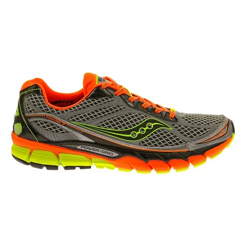 Mens Saucony Ride 7 ViZiGLO Running Shoe - Silver/Orange 12
