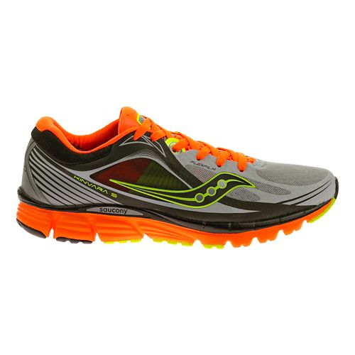 Mens Saucony Kinvara 5 ViZiGLO Running Shoe - Silver/Orange 10.5