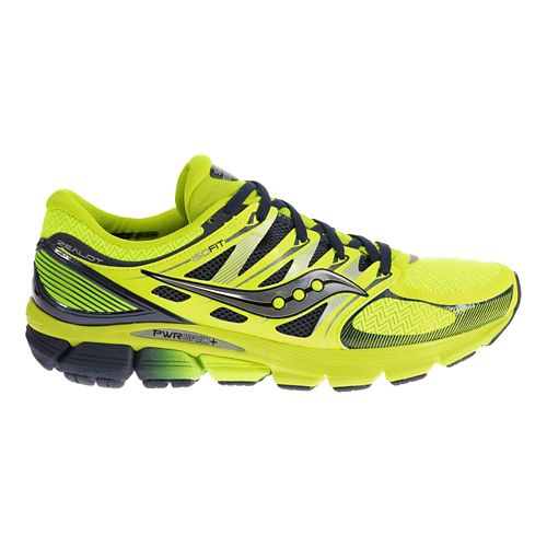 Mens Saucony Zealot ISO Running Shoe - Citron/Navy 8