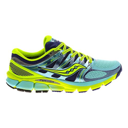 Womens Saucony Zealot ISO Running Shoe - Blue/Citron 10.5