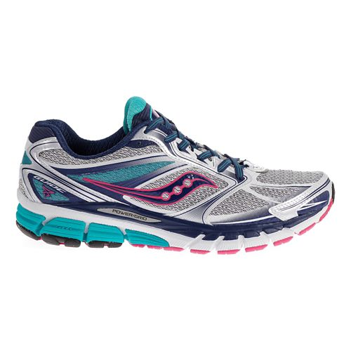 Womens Saucony Guide 8 Running Shoe - White/Blue 8.5