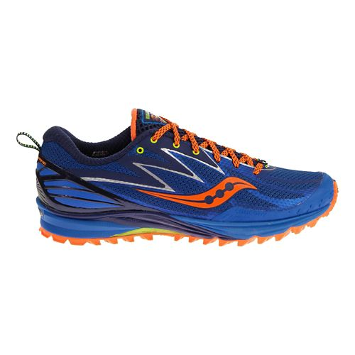 Mens Saucony Peregrine 5 Trail Running Shoe - Blue/Orange 10.5