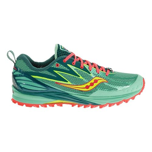 Womens Saucony Peregrine 5 Trail Running Shoe - Blue/Citron 7.5