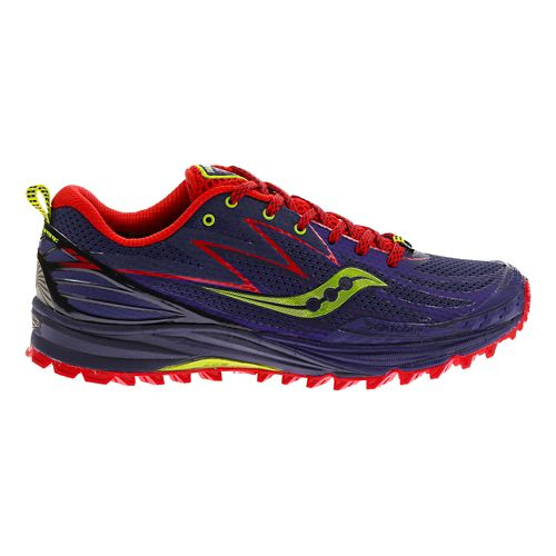 Womens Saucony Peregrine 5 Trail Running Shoe - Purple/Red 5.5