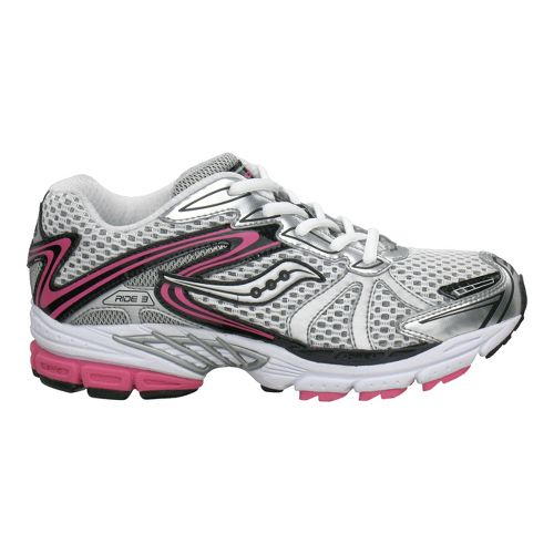 Kids Saucony ProGrid Ride 3 Pre/Grade School Running Shoe - White/Pink 6.5