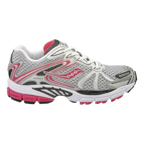 Kids Saucony ProGrid Guide 3 Pre/Grade School Running Shoe - Silver/Pink 6.5