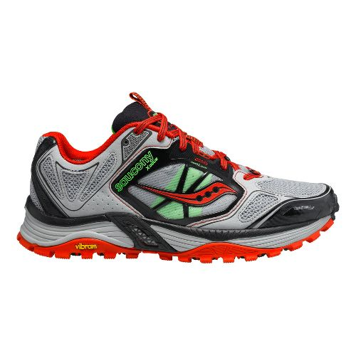 Mens Saucony Xodus 4.0 Trail Running Shoe - Grey/Red 12.5