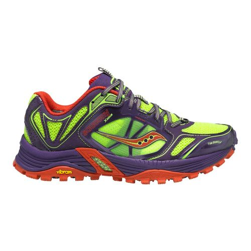 Womens Saucony Xodus 4.0 Trail Running Shoe - Purple/Citron 5