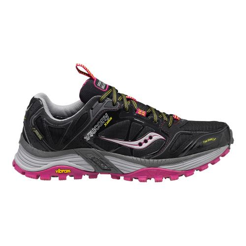 Womens Saucony Xodus 4.0 GTX Trail Running Shoe - Black/Purple 5.5