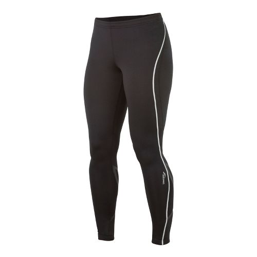 Womens Saucony Kinvara Calf Support Fitted Tights - Black/Black XS