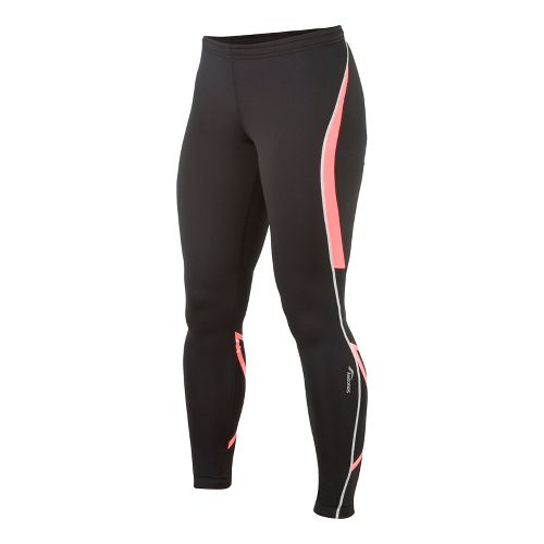 Womens Saucony Kinvara Calf Support Fitted Tights - Black/Vizipro Coral M