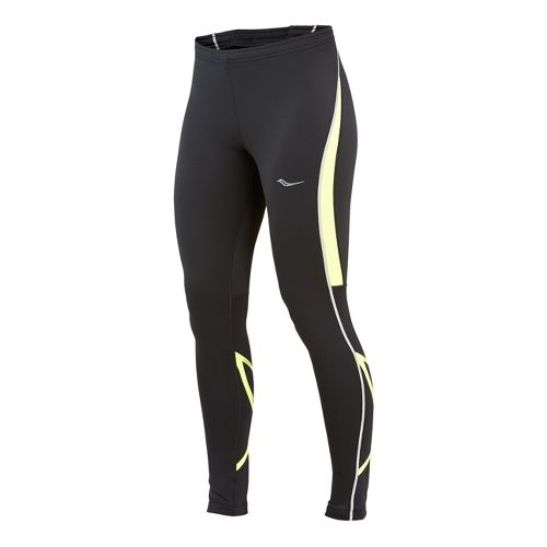 Womens Saucony Kinvara Calf Support Fitted Tights - Black/Vizipro Citron M