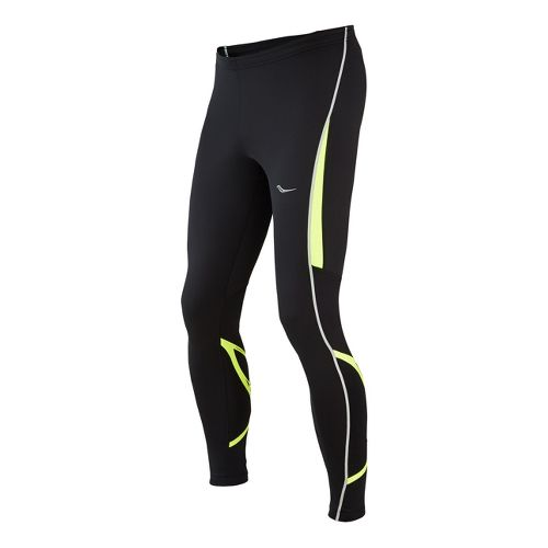 Mens Saucony Kinvara Calf Support Fitted Tights - Black/Vizipro Citron L