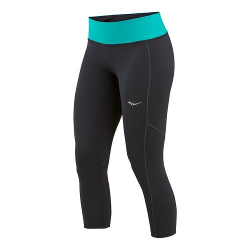 Womens Saucony Scoot LX Capri Tights - Black/Jade L