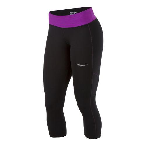 Womens Saucony Scoot LX Capri Tights - Black/Passion Purple L