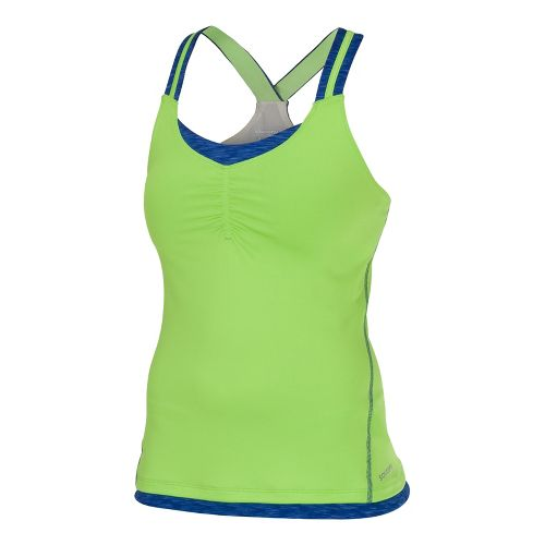 Womens Saucony Ruched LX Tank Singlets Technical Tops - Acid Green/Cobalt XL