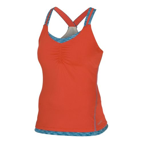Womens Saucony Ruched LX Tank Singlets Technical Tops - Firecracker/River XL
