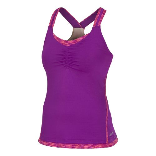 Womens Saucony Ruched LX Tank Singlets Technical Tops - Passion Purple/Vizipro Coral M