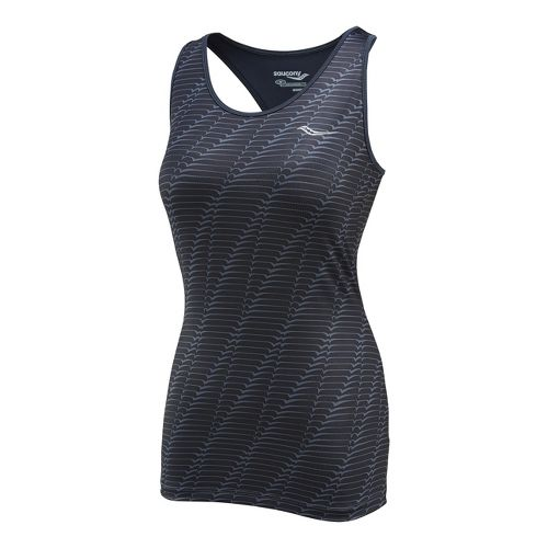 Womens Saucony Solid Racer Back Tank Singlets Technical Tops - Carbon/Print L