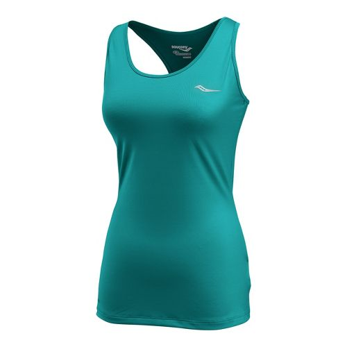 Womens Saucony Solid Racer Back Tank Singlets Technical Tops - Jade Green L