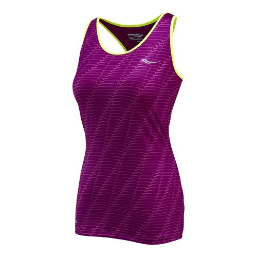 Womens Saucony Solid Racer Back Tank Singlets Technical Tops - Plum Print XS