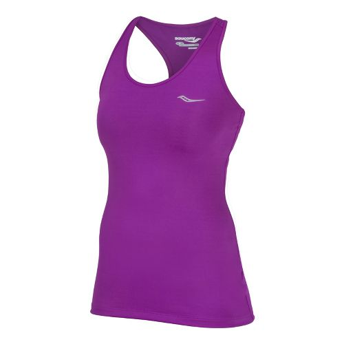 Womens Saucony Solid Racer Back Tank Singlets Technical Tops - Passion Purple S