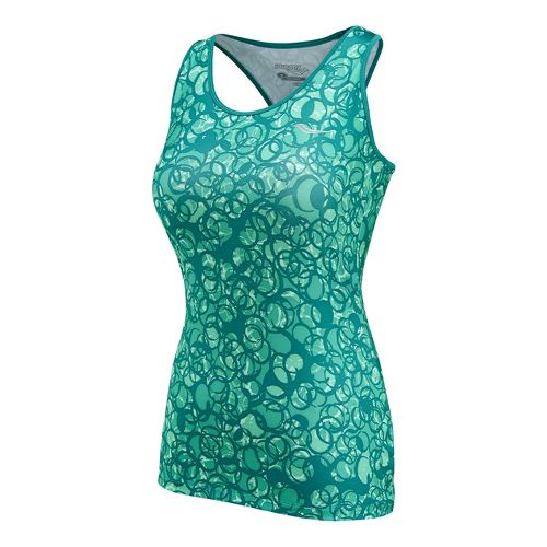 Womens Saucony Solid Racer Back Tank Singlets Technical Tops - Sea Green/Print XL
