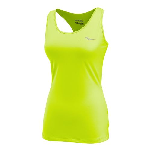 Womens Saucony Solid Racer Back Tank Singlets Technical Tops - Vizipro/Citron M