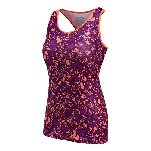 Womens Saucony Solid Racer Back Tank Singlets Technical Tops - Vizipro Electric/Print XL