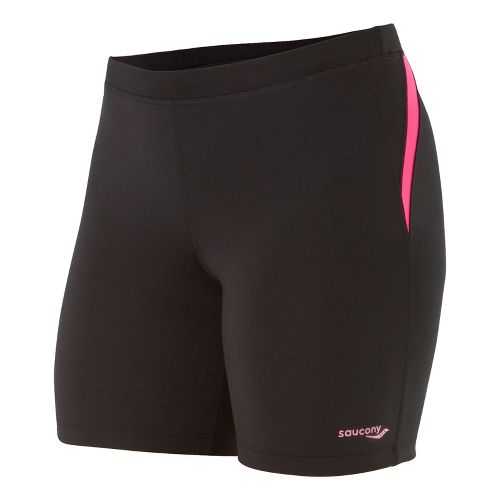 Womens Saucony Ignite Tight Fitted Shorts - Black/Berry Crush L