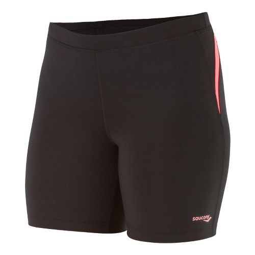 Womens Saucony Ignite Tight Fitted Shorts - Black/Vizipro Coral S